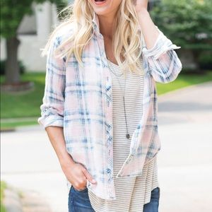 Anthropologie Cloth & Stone Pink Washed Out Top